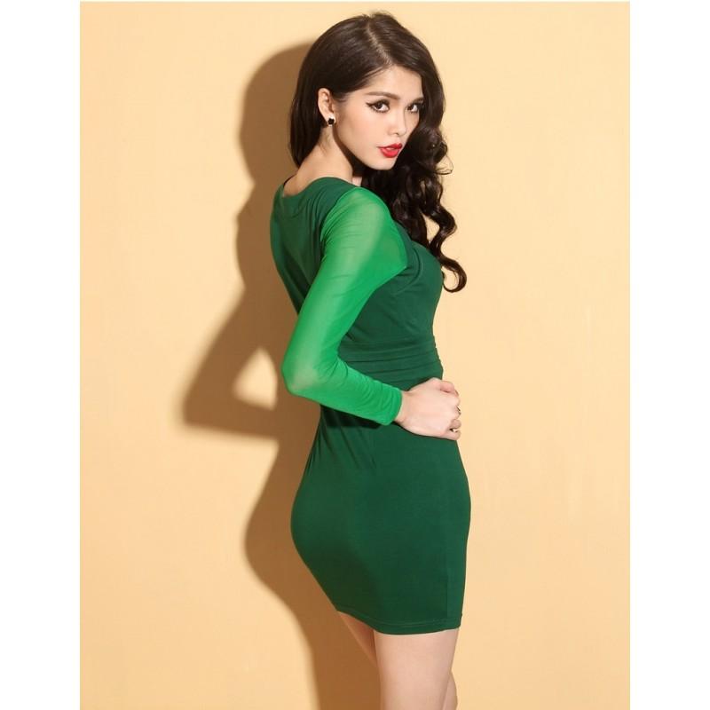 model mini dress untuk tubuh kecil warna hijau polos